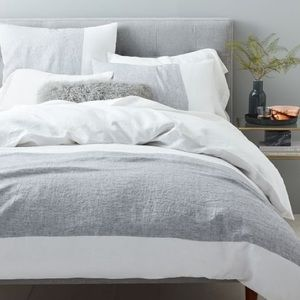 West Elm Belgian Flax Linen Duvet Cover in White